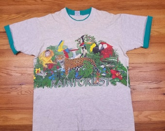 Vintage 90s 1991 Rainforest Double Sided Habitat Wildlife T shirt Monkey Leopard Parrot Frog Size XL