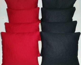 Set Of 8 Black & Red Cornhole Bean Bags