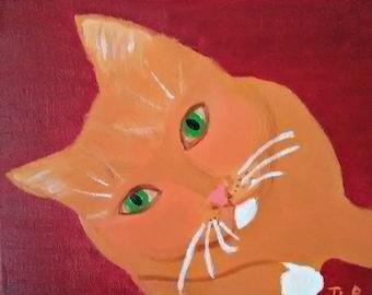 Toby - Folky Cat Portrait - Oil Painting