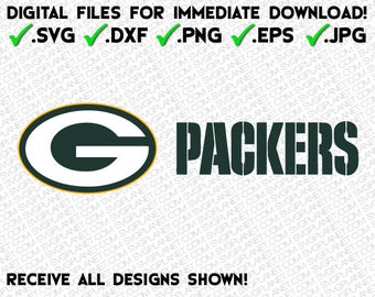 GREEN BAY PACKERS logo in 5 file formats (svg, dxf, png, eps, jpg) download instantly!! image vector clipart files for cricut silhouette