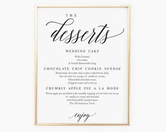 Elegant Dessert Menu Sign Template Wedding Dessert Menu Wedding Dessert Printable Dessert Printable Wedding Menu