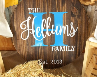 "24"" Wooden Family Name Sign"