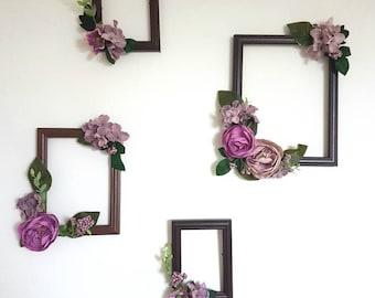 Floral frames, Floral hanging, photo frame, Floral photo frame, floral wall hanging, photo, artificial flowers, floral, wedding frame.
