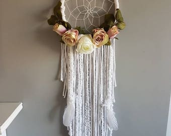 Pink Floral dream catcher, dream catcher, bohemian dream catcher, dreamcatcher, dream catcher, macrame, macrame dream catcher, nursery decor