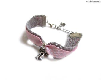 Bracelet in pink and white polka dot Ribbon and lace romantic girl