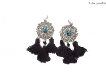 Earrings tassels black chic turquoise filigree
