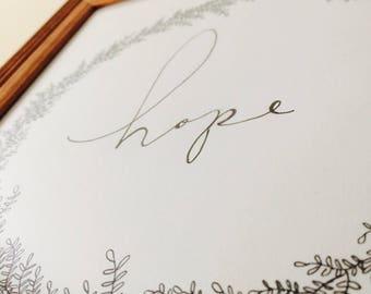 Hope print with leaf border