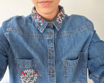 Hand embroidered denim shirt