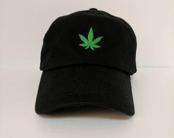 100% Cotton Unstructured Cannabis Dad hat