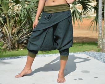 Harem pants women men, drop crotch pants, Ninja pants, Boho Hippie pants, white, handmade from cotton