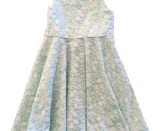 Green and White Geometric Sundress