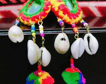 Colorful shell earring