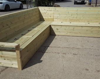 Wooden Chunky Garden Sofa Unit