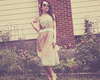 Silk Trimmed Vintage Inspired Tea Length Dress