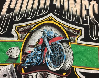 Vintage 90's let the good times roll harley davdison t shirt