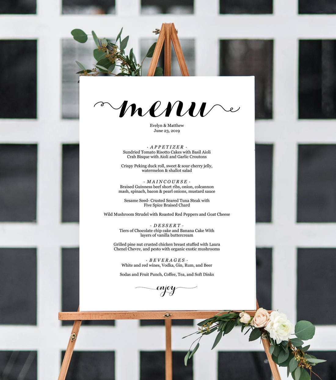 5 Sizes Wedding Menu Sign,Wedding Menu Board,Wedding Menu Poster ...