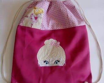 "Backpack embroidered ""ballerina"" child ideal nursery, back to school, kindergarten"