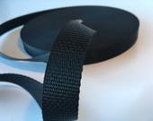 "5m Black polypropylene Webbing 25mm/1"" wide - webbing, polyprop, bag strap, bag handle, closure strap, dog leads"