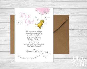 Printable Winnie the Pooh - Girl Baby Shower / Christening Invitation
