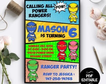 Power Ranger Invitation Instant Download, Power Ranger Printables, Power Ranger Party, Power Ranger PDF Editable, Power Ranger Editable
