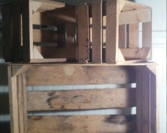 Unfinished Wooden Apple Crates Set of 3