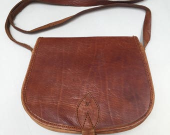 Tan coloured, vintage leather festival bag