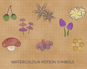 Watercolour Potion Ingredients