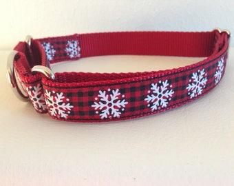 Martingale Dog Collar, Large Christmas Martingale Collar, Large Snowflake Martingale Dog Collar, Large Gingham Adjustable Dog Collar