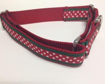 Martingale Dog Collar, Medium Christmas Martingale Collar, Medium Polka Dots Martingale Dog Collar, Medium Dots Adjustable Dog Collar
