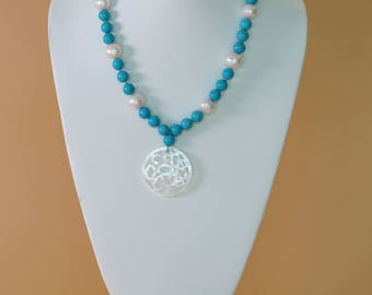 Pearl Necklace with Turquoise  Beads and Mother of Pearl Pendant