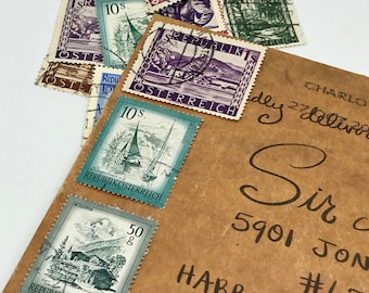 12 used 1940's vintage Republic of Austria vintage postage stamps | Perfect for scrapbooking, stamp collecting, snail mail art, and crafting