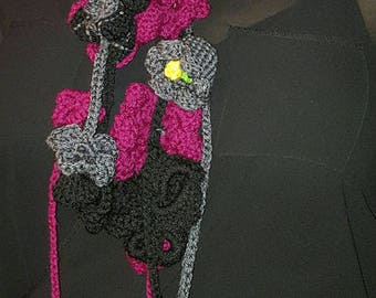 Garden of Flowers Crochet Skinny Scarf