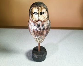Vintage Folk Art Carved Wooden Owl