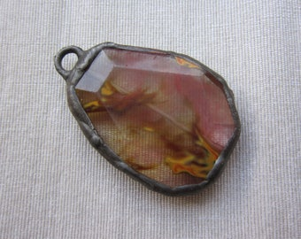 Hand Soldered Faceted Streaky Quartz Pendant