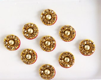 9 Gold Round Bindis,Bridal Bindis Stickers,Stone Bindis,Gold Round Face Jewels Bindis,India Bindis,Bollywood Bindis,Fake Belly Button Stud