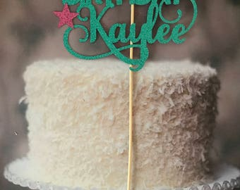 Glitter Name Birthday Cake Topper with stars  - Personalised and Australian Made
