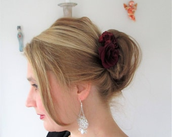 Silver wedding maid of honor-flowers hair comb Burgundy hair ceremony party.