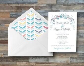 Boho Themed Printable Wedding Invitation Package / Feather Wedding Invitation / Floral Wedding Invitation / Bohemian Wedding