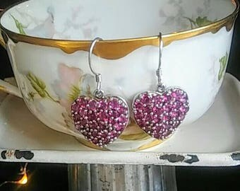 Purple Rhodolite Garnet Sterling Silver Heart Earrings