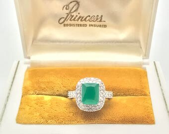 Magnificent Rich Natural Princess Colombian Emerald Diamond Ring, 925 Sterling Silver, Ring Size 7.
