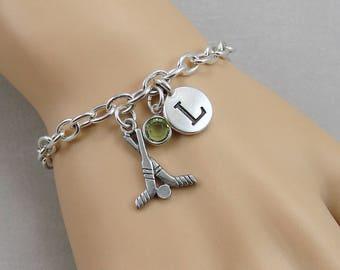 Hockey Charm Bracelet, Hockey Sticks Bracelet, Initial and Birthstone Bracelet, Silver Plated Link Charm Bracelet
