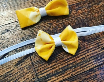 Yellow and White Mini Bow Headband and Bowtie