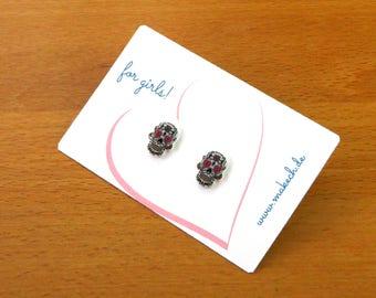 Girl children jewelry ear studs earrings 925 Silver skull