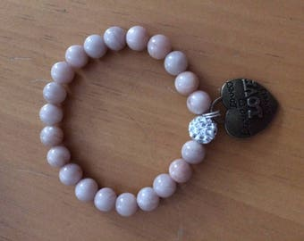 Natural Moonstone Pink Stretch Bracelet with Charm FREE SHIPPING