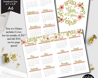 A6 size Year at a glance printable insert, 2017 and 2018 Planner Insert.  CMP-235.1