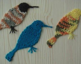 robin patch,12cm,brown,blue,yellow,crochet,brooch,bird bookmark,cap deco,sweater decor,robin,knitted,animal--MaryDengZF
