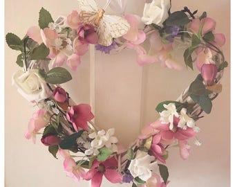 Wild Flower Heart Wreath