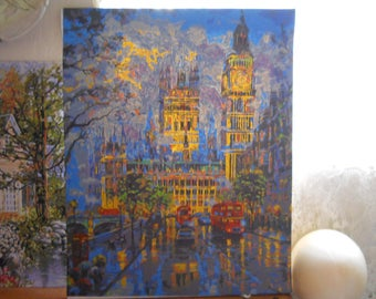 Paint by Number Victorian Castle like buildings Hand Painted