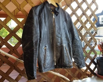 Leather Jacket - Schott Cafe Racer - Size 38 - Brown Leather - Motorcycle Jacket