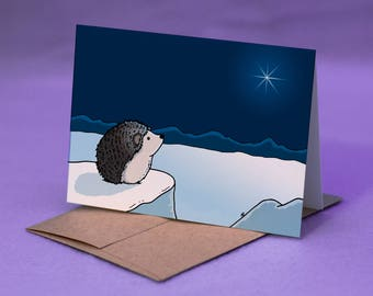 Hedgehog Christmas Card - CHRISTMAS STAR CARD - Hedgehog Merry Christmas Card - Christmas Star / Star of Bethlehem Hedgehog Card